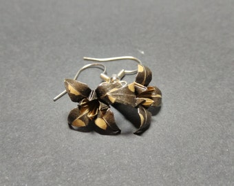 Chocolate Origami Lily Hook Wire Earrings
