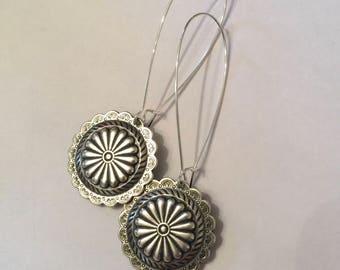 Southwestern Sterling Plated Boho 3 Inch Long Dangle Earrings on Kidney Wires