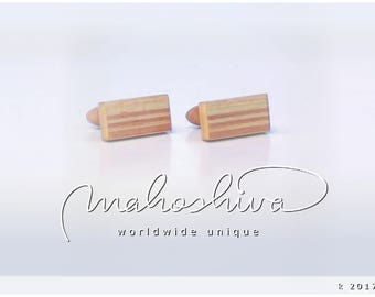 wooden cuff links wood flamed maple maple handmade unique exclusive limited jewelry - mahoshiva k 2017-08
