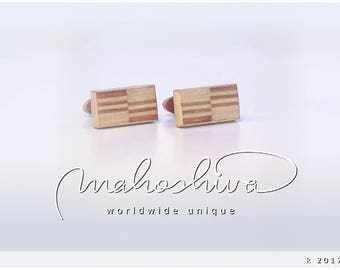 wooden cuff links wood cherry maple handmade unique exclusive limited jewelry - mahoshiva k 2017-32