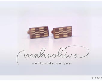wooden cuff links wood walnut maple handmade unique exclusive limited jewelry - mahoshiva k 2017-53