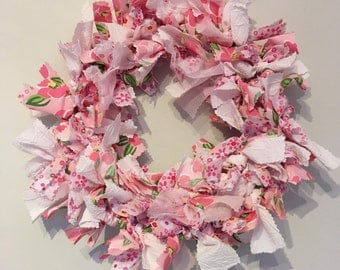 Handmade indoor pink fabric rag wreath