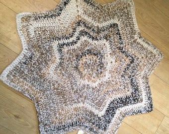 Crochet Brown/Cream Star Throw
