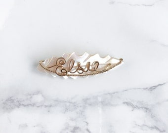 Mother of Pearl Name Pin ~ Elsie