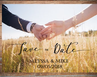 Personalized save the date card template Printed photo save-the-date invitation Printable rustic wedding save the dates with photo DIGITAL