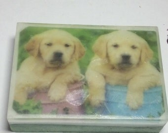 Handmade organic soap, cute two dogs picture soap