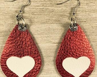 Red leather earrings, leather earrings, drop earrings, teardrop earrings, earrings with heart