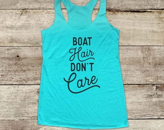 Boat Hair Don't Care - bridal shower bachelorette party - Soft Tri-blend Soft Racerback Tank fitness gym yoga running exercise birthday gift