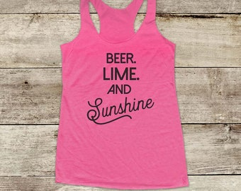 Beer Lime and Sunshine - bachelorette drinking party Soft Tri-blend Soft Racerback Tank fitness gym yoga exercise birthday gift funny tank