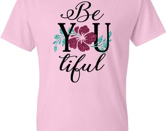 Be YOU tiful Glitter Flower Tee