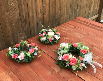 Beautiful Spring / Wedding Wreath With Two Coordinating Hurricane Centerpieces