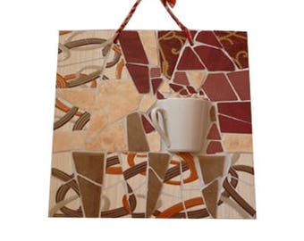 Coffee cup wall art  Mosaic mug decor Coffee lover gift Kitchen mosaic wall hanging