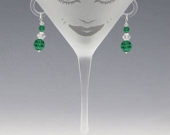 Lola Martini Glass - Handmade Emerald Swarovski Earrings - great girlfriend glass, bridesmaid glass, or my own special glass!