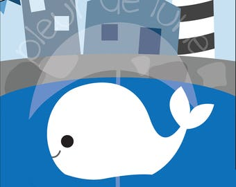 Nautical White Whale Poster Art Print