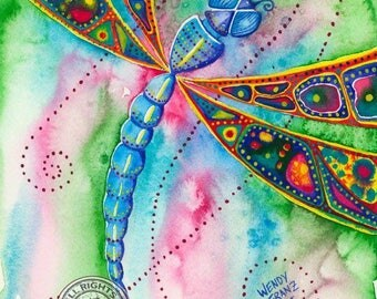 Dragonfly (blue) - Watercolour Print