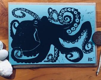 Printable Octopus Card, Block Print, Hand Carved Design, Instant Digital Download, Printable Card
