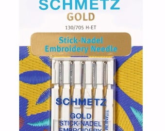 Schmetz Gold Titanium Embroidery Needles Size 75