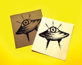 Alien Eye UFO // Screen Printed Patch
