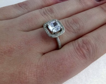 Rhodium-Plated Sterling Silver 925 Cubic Zirconia Statement Ring