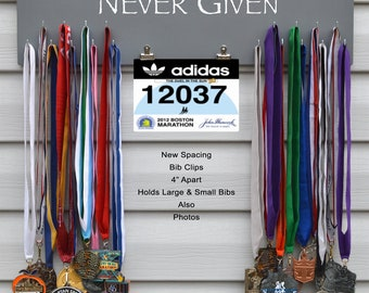FAST SHIPPING Free Customizing Available  Sports Medal Bib Photo Display Rack,Large,N4837 Always Earned Gray Background