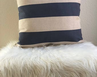 14x14 Blue Striped Cotton Pillow Cover
