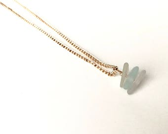 Stacked Genuine Sea Glass Necklace in Rose Gold