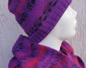 Colorful ornament hat and ring scarf set!