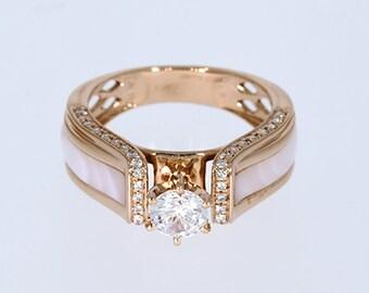 6.00 mm VVS-EF White Moissanite 0.24 ct Natural vs/si-gh Diamond | 10KT/14KT/18KT Rose Gold  IGI Certified Ring with Pink Mother of Pearl