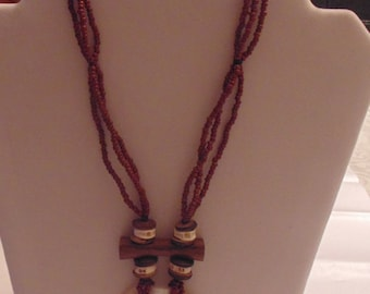 Brown Beaded Multi-Strand Necklace with Shell Pendant