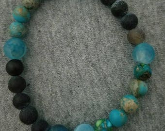 Shades of Blue Bracelet with Shell Charm