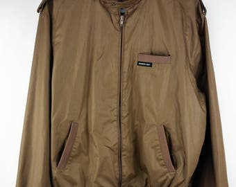 Vintage 1980s Members Only Cafe Racer Jacket- Brown- Europe Craft- Men's Size 46L
