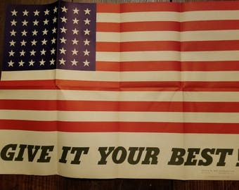 1942 WWII Poster American Flag Give It Your Best US War Information Office 1942-O-488228 Coiner Propaganda Original Historic Poster