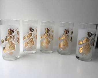 Set of retro glass tumblers gold gilt leaves grapes frosted white glass highball glasses