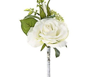 Cream Silk/Artificial Rose Corsage/Buttonhole Wedding Bridal Flower With Brooch Pin