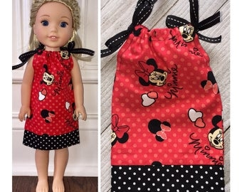 """14.5"""" Doll Clothes/Wellie Wishers Doll Clothes/American Girl Dress/Doll Pillowcase Dress/Wellie Wishers Dress/Disney/Wellie Wishers Minnie"""