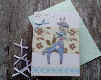 Handmade baby boy card, new baby, congratulations