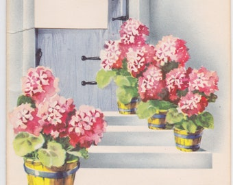 Vintage 1940s note card with pink geraniums -- Handi Note by Artistic Cards