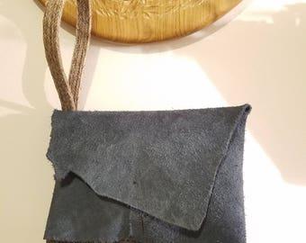 Large Blue Leather Clutch bag