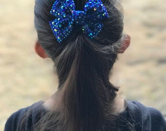 Holographic Stud Hair Bow (Royal Blue)(small)