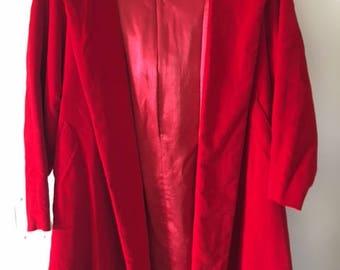50s Red Velvet Coat with Hood