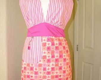 Kitchen Apron; Hostess Apron; Cute Apron; Fun Apron; Casual Apron; Aprons for Women; Pink Apron; Reversible Apron