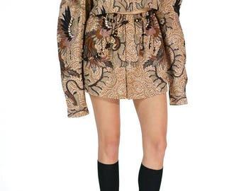 Redesigned Vintage Danar Hadi Solo Indonesia Menswear Cold Shoulder Skirt Set (2 Pieces)
