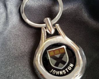 JOHNSTON Chrome Key Ring Fob Keyring Scottish Irish Clan Gift Idea