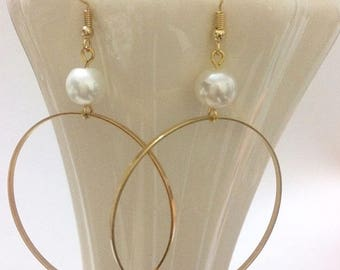gold plated hoop earrings with pearl,gold plated brass hoop earrings,gold plated earrings 24K,orecchini a cerchio e perla