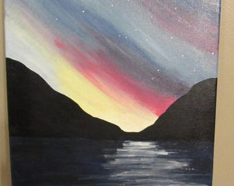 Evening with Mountains and River Painting