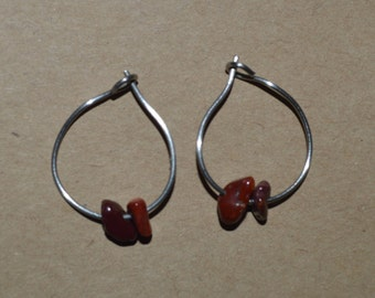 Hand Made Hoop Earrings With Red Stone