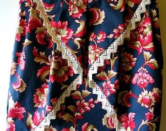 Vintage floral pinwheel skirt, cotton with satin lining, size M