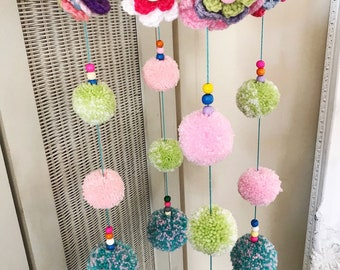Flower Pom Wool Mobile