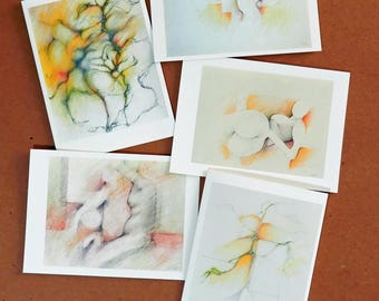 Handmade Original Abstract Art Color Pencil Pastel Notecards 01