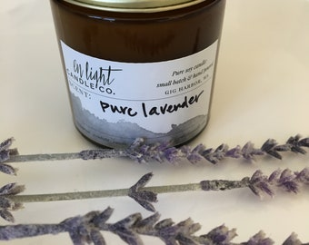 Pure Lavender - 4 oz pure soy hand poured candle